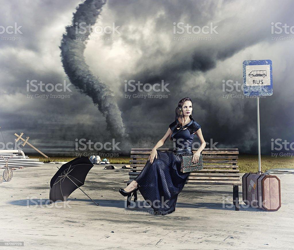 woman and tornado stock photo
