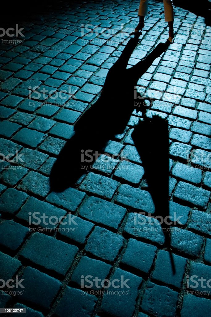 Woman and Umbrella Shadow on Cobblestone Street royalty-free stock photo