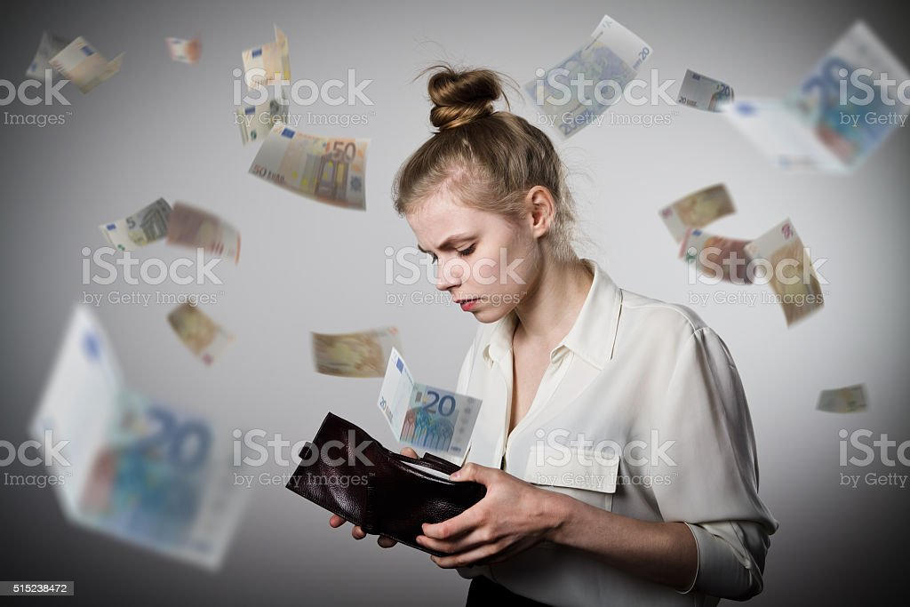 Mujer y bolsillo. Para Europa - Foto de stock de Abrir libre de derechos