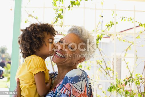 istock Woman and young girl embracing outdoors 77931650