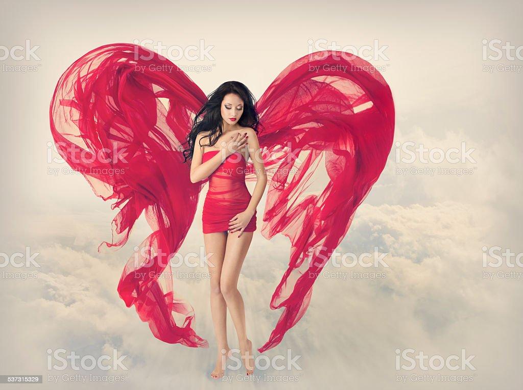 Woman Angel Wings Heart Shape, Fashion Model Girl, Red Dress stock photo