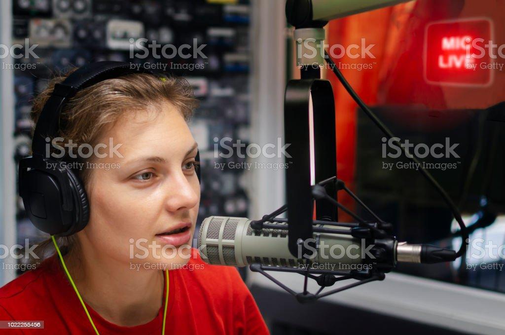 woman announcer stock photo