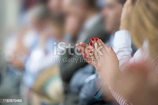 481545031 istock photo Woman applauding outdoors 1152670463