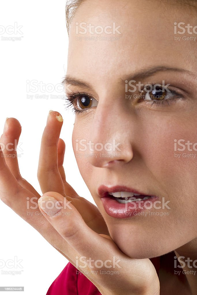 Woman applying anti aging cream ointments royalty-free stock photo