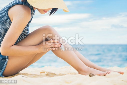 istock Woman applying sunscreen to legs 836387884