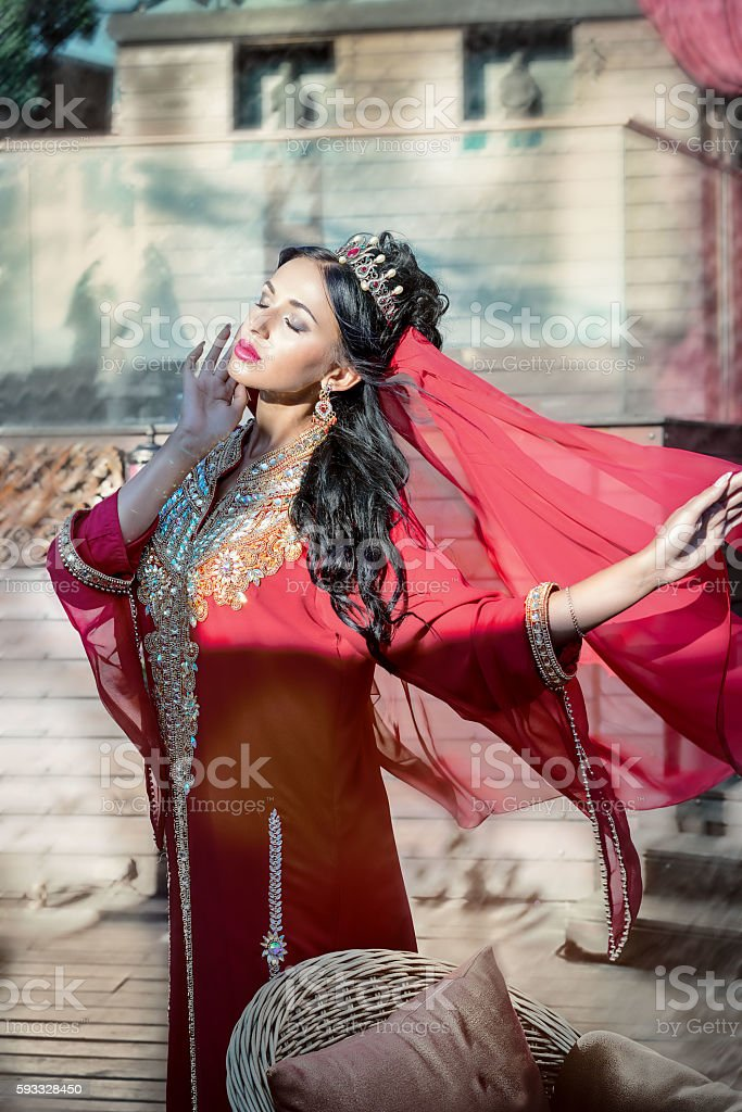 woman arabian turkish oriental artist in carnival costume stock photo