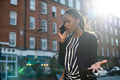 Woman arguing on the phone