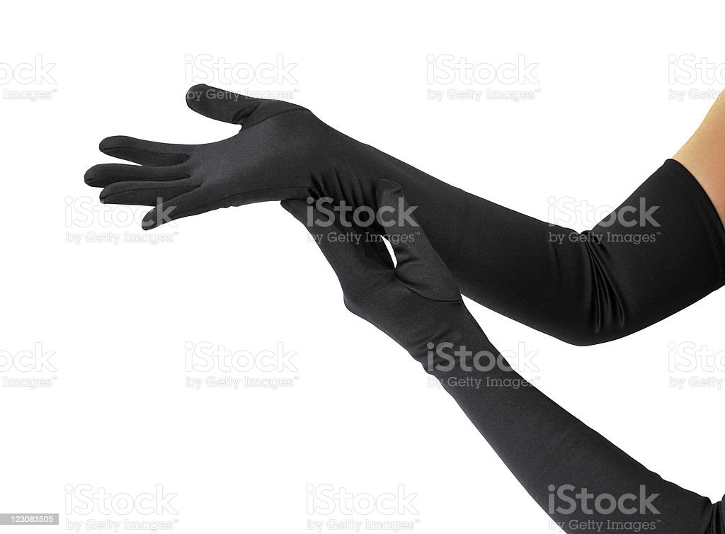 Woman arms with gloves stock photo
