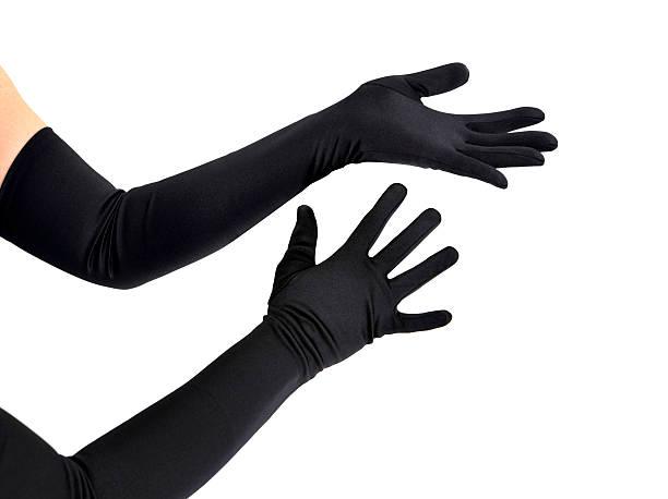 femme avec de longs gants noirs bras - paire de gants photos et images de collection