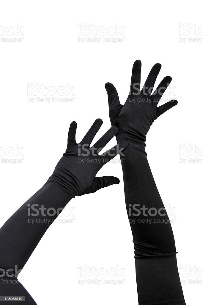 Woman arms with long gloves stock photo