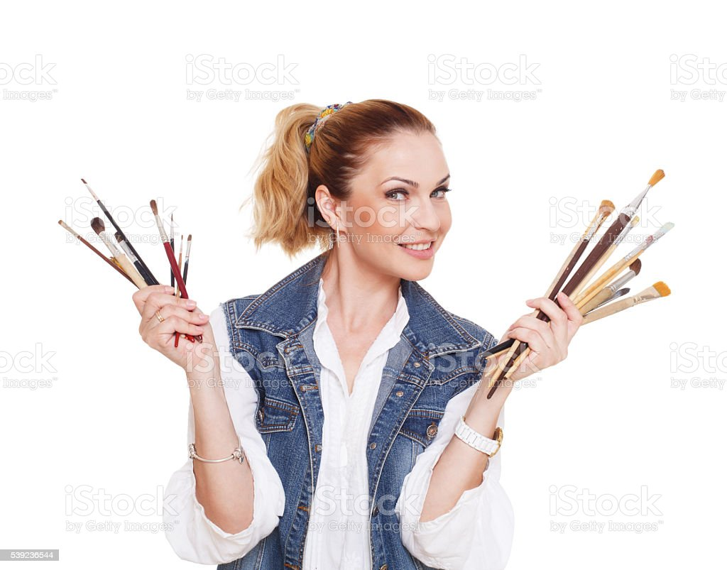 Woman artist with brushes and palette, isolated royalty-free stock photo