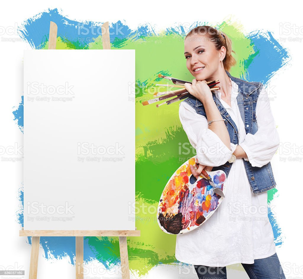 Woman artist with brushes, palette and copy space royalty-free stock photo
