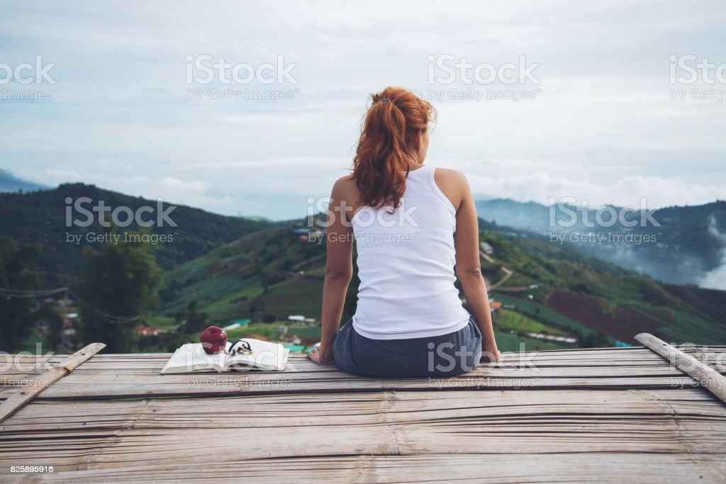 woman asia travelers travel.See the atmosphere in the morning.. phetchabun phutubberg thailand stock photo