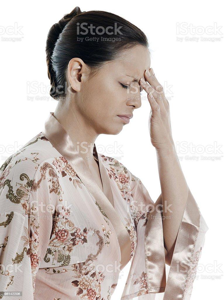 woman asian headache royalty-free stock photo