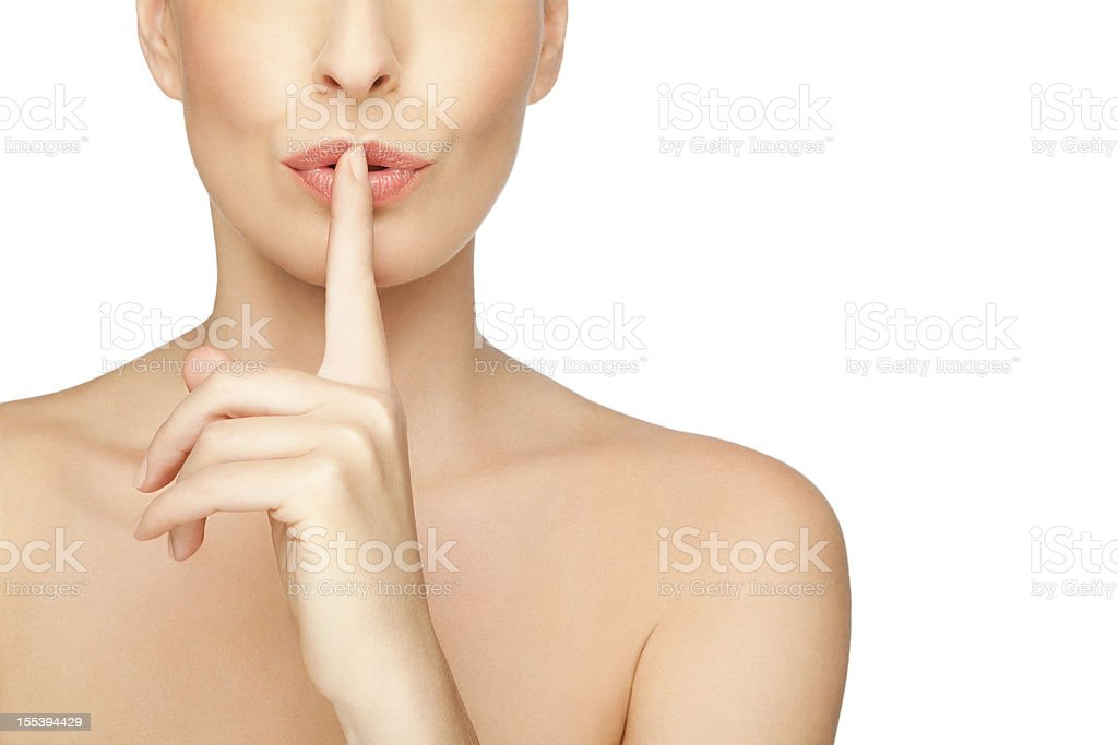 Woman Asking For Quiet or Silence On White Background royalty-free stock photo