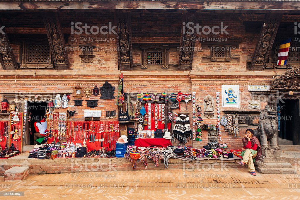 Woman at a Curio shop in Bhaktapur. stock photo