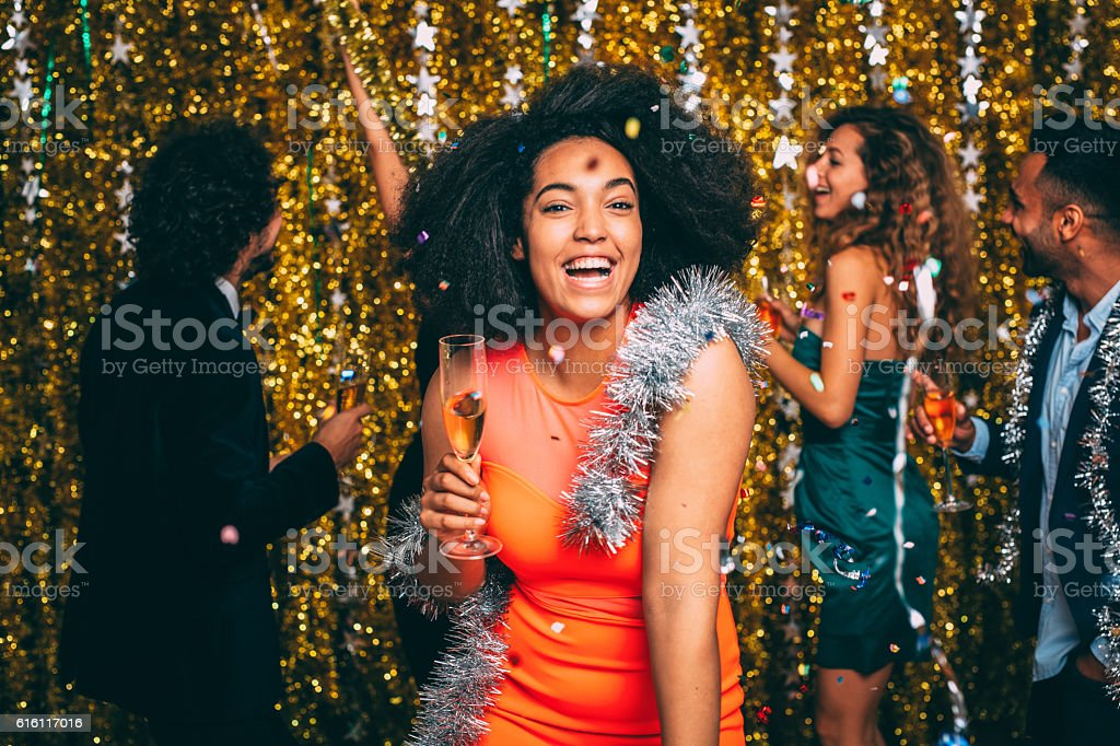 Woman At A New Year's Eve Party stock photo