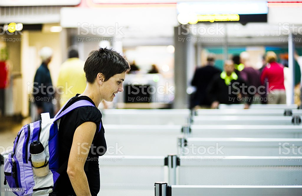 Woman at airport royalty-free stock photo