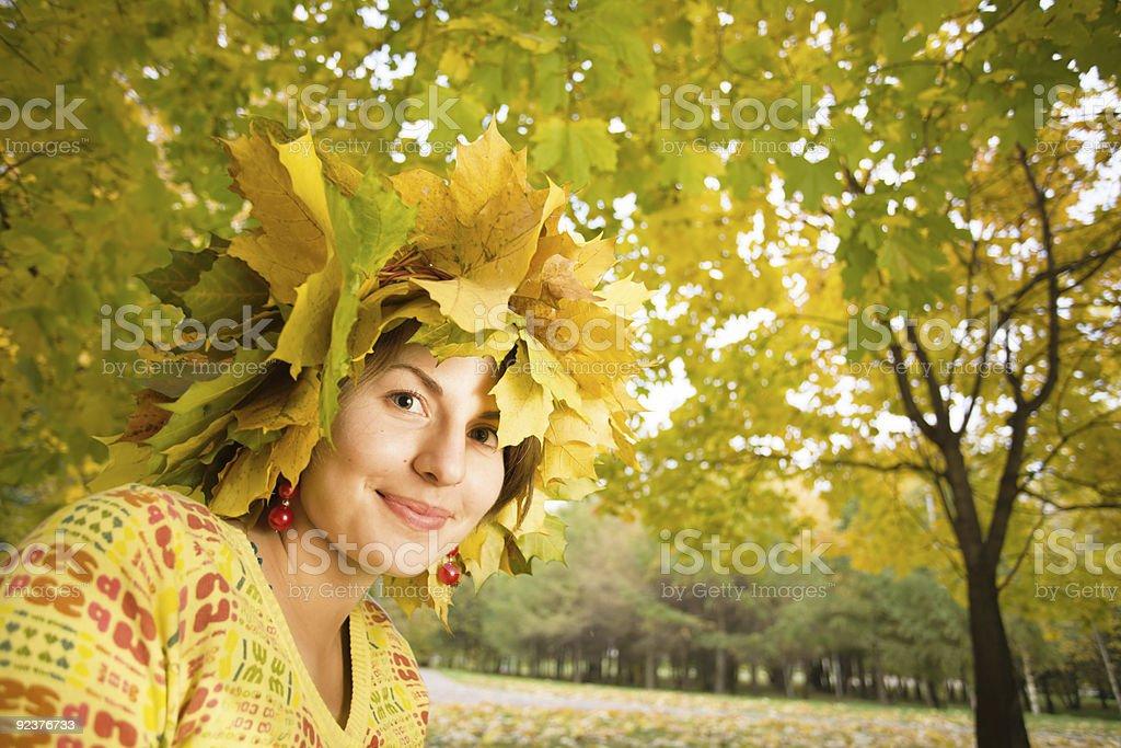 Woman at autumn park royalty-free stock photo