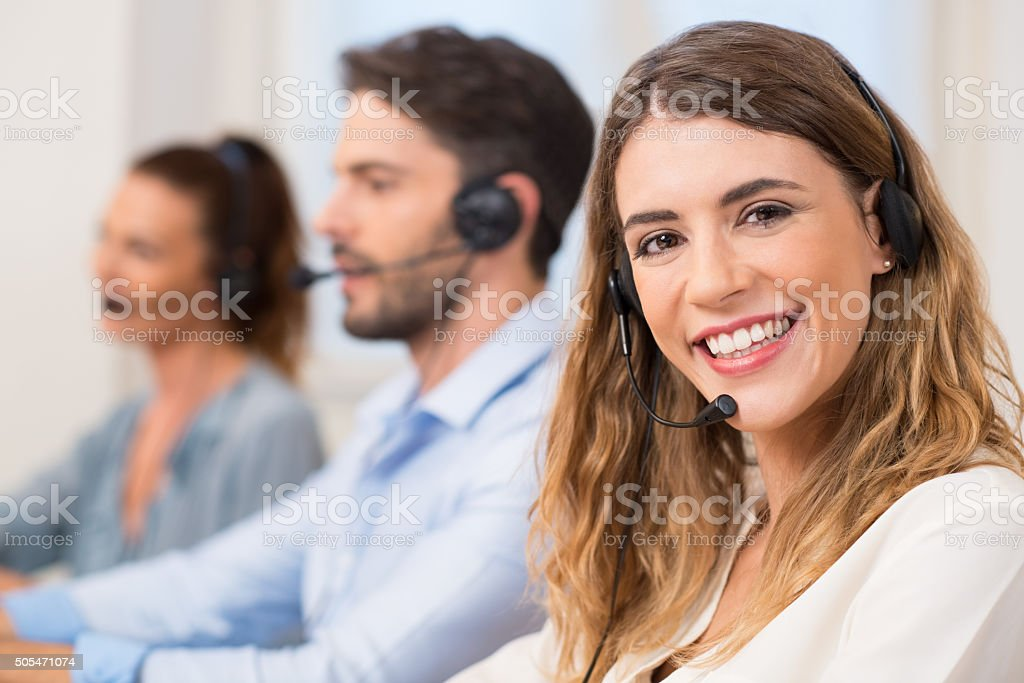 Woman at call centre stock photo
