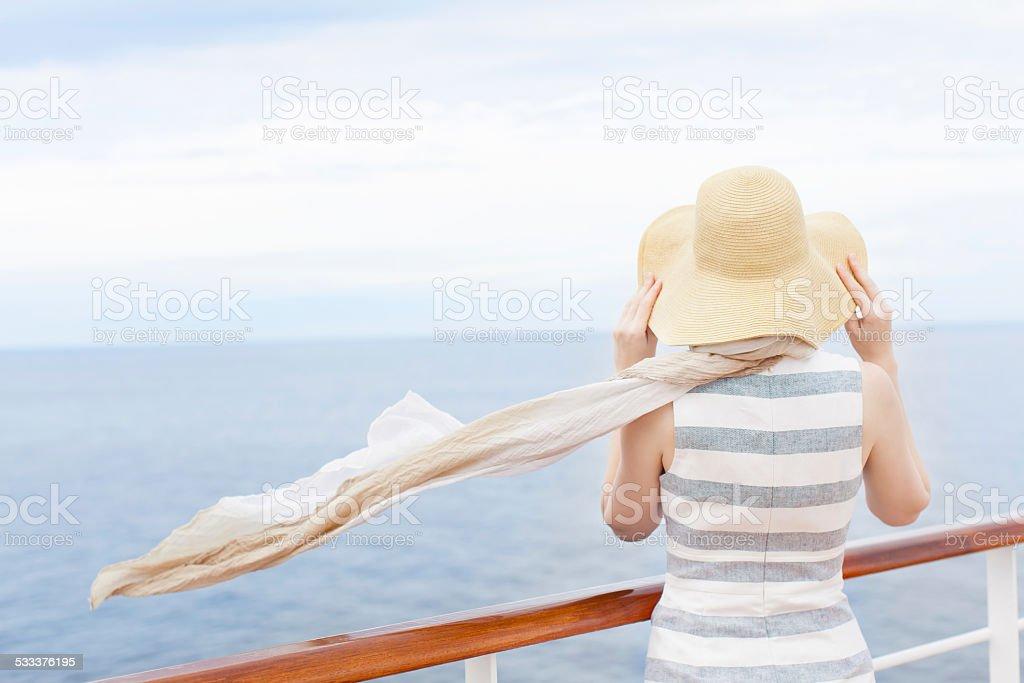 woman at cruise ship stock photo
