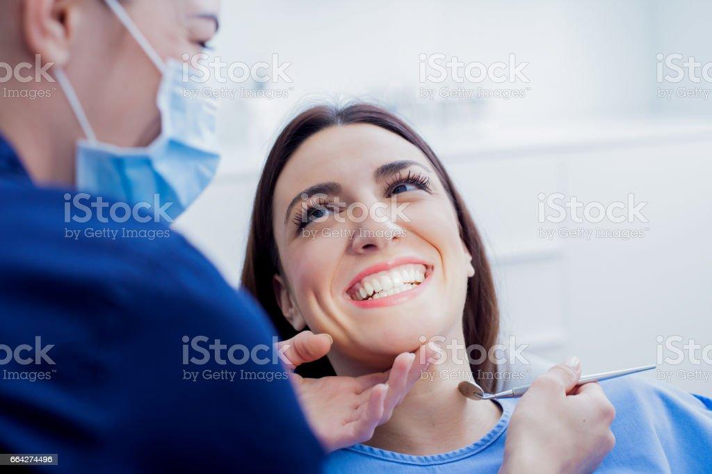 Woman at dentist royalty-free stock photo