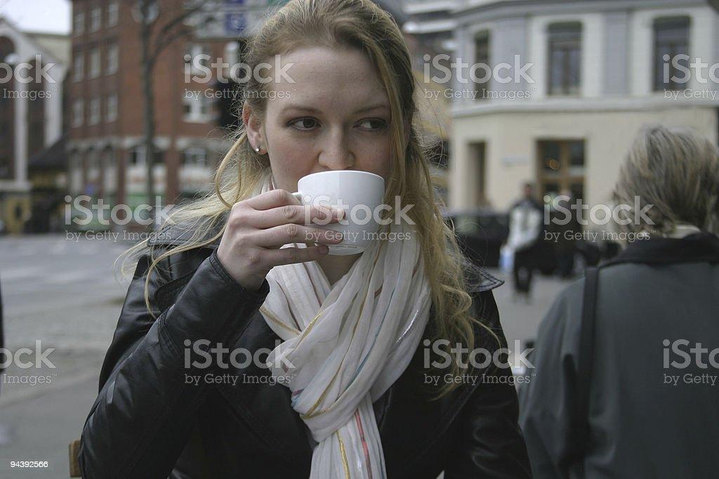 Woman at Espresso Bar royalty-free stock photo