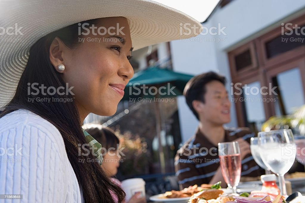 Woman at family meal stock photo