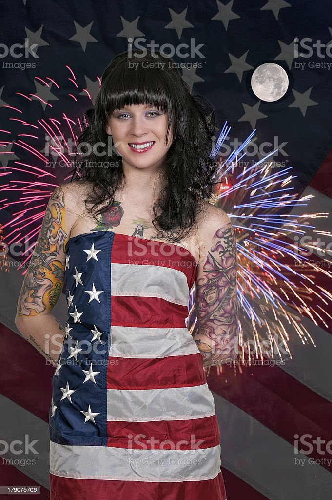 Woman at Fireworks in a Flag royalty-free stock photo