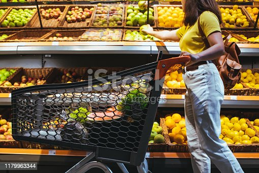 istock woman at grocery store market with shopping cart consumer in supermarket 1179963344