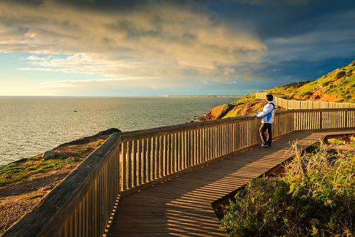 Woman at Hallett Cove boardwalk