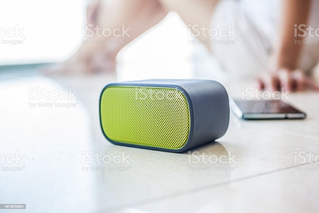 Woman at Home Listening to Music stock photo