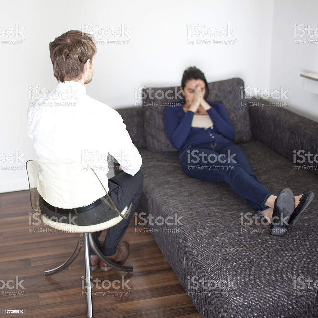 Woman at psychoanalysis royalty-free stock photo