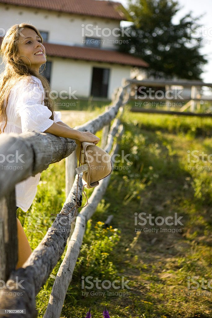 Woman at ranch royalty-free stock photo