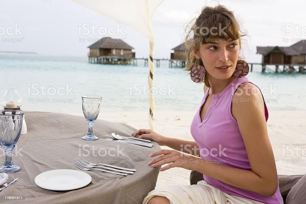 Woman at table royalty-free stock photo