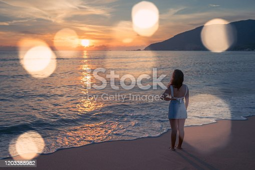 928866530 istock photo Woman at the beach 1203388982