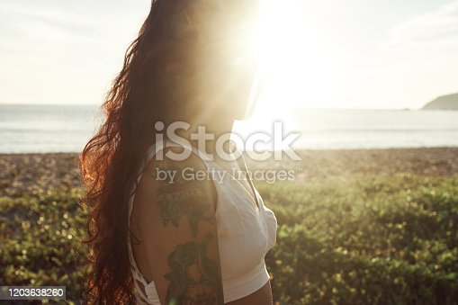 928866530 istock photo Woman at the beach 1203638260