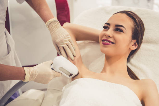 Woman at the beautician stock photo