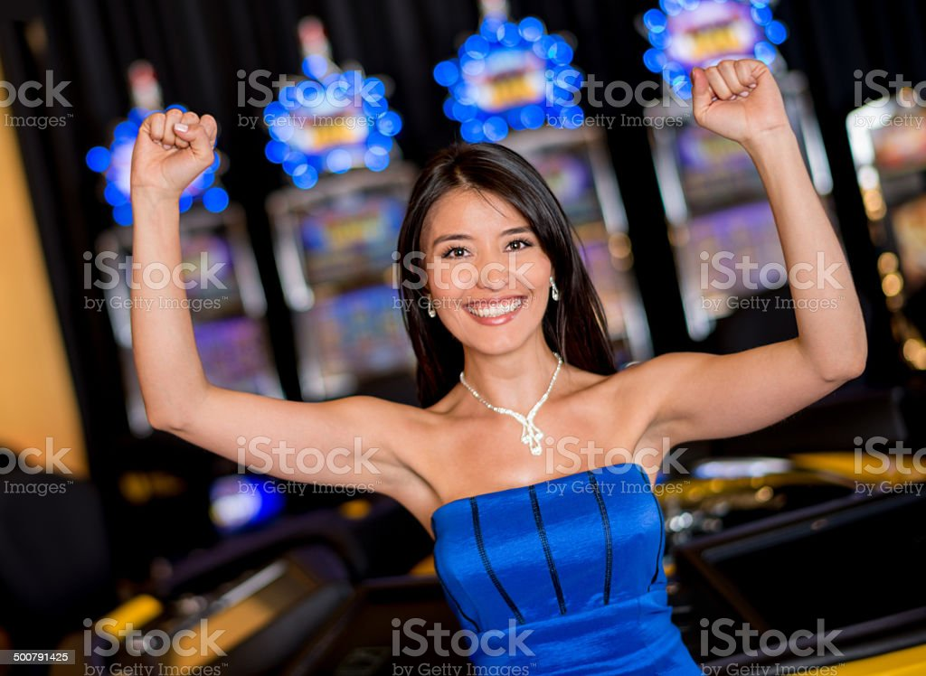 Woman at the casino stock photo
