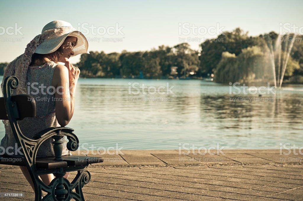 Woman at the lake royalty-free stock photo