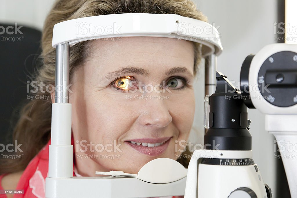 woman at the optician royalty-free stock photo