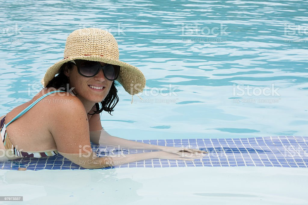 woman at the pool royalty-free stock photo