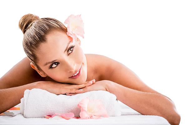 Happy Woman Looking At Nude Man Holding Towel In Bedroom