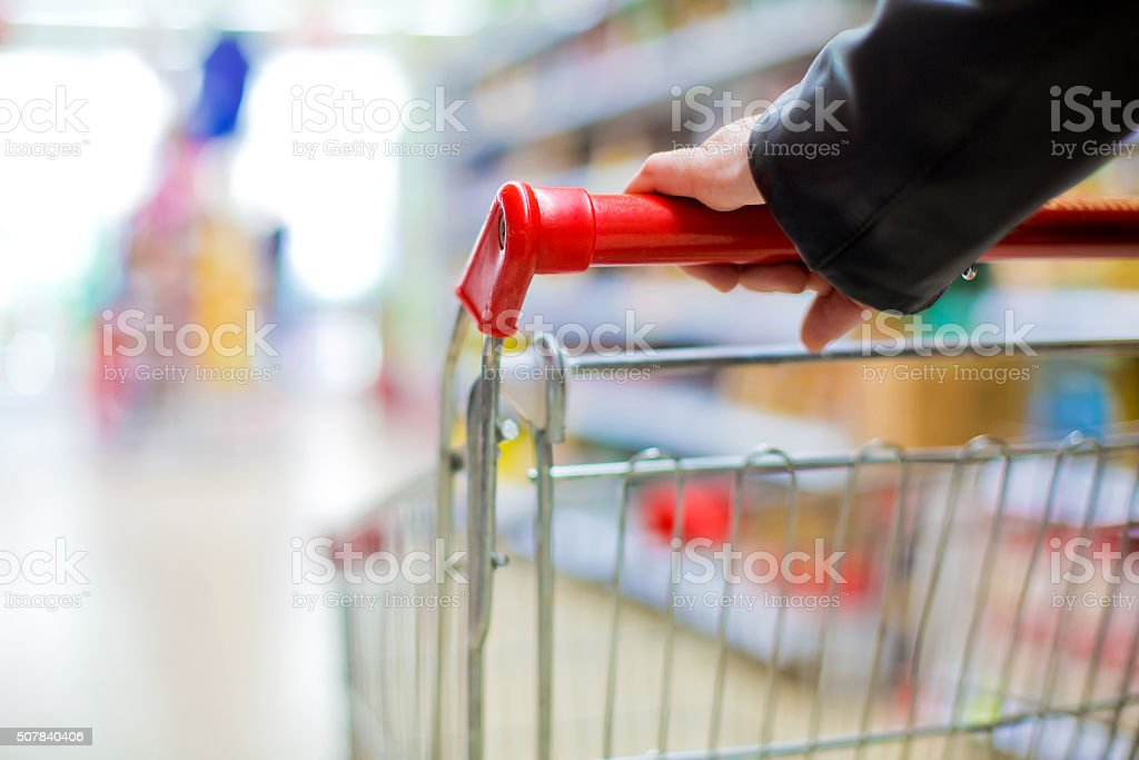 woman at the supermarket stock photo