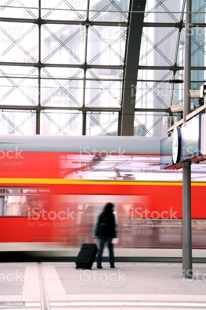 Woman at Train Station royalty-free stock photo