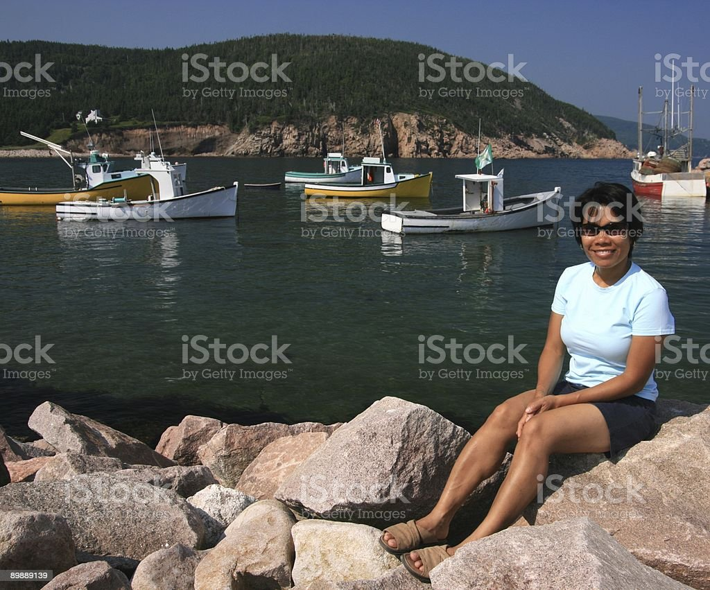 Woman at White Point Harbour royalty-free stock photo