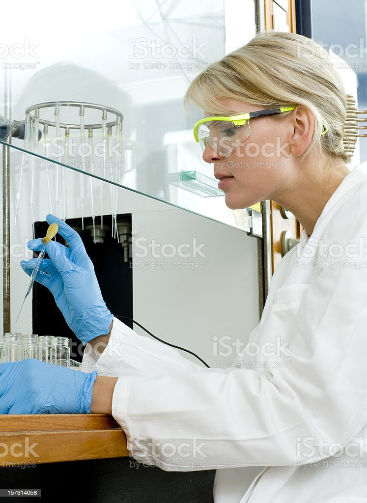 woman at work in lab stock photo