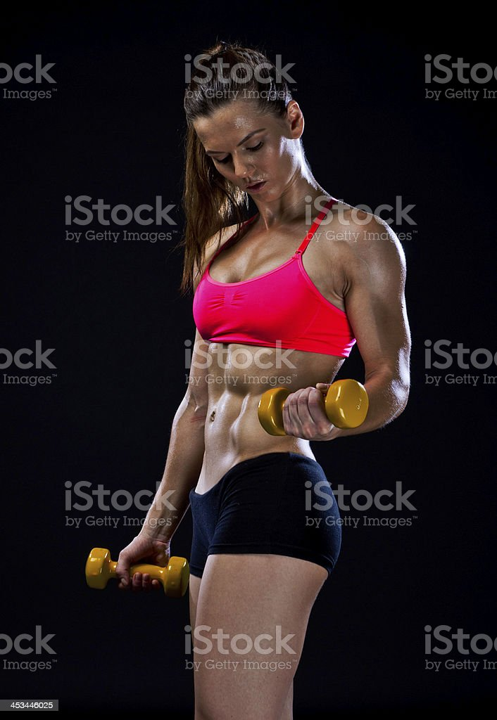 woman athlete with weights royalty-free stock photo