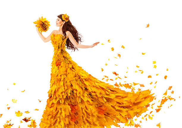 Woman Autumn Fashion Dress Fall Leaves, Model Girl, Wedding Bride stock photo