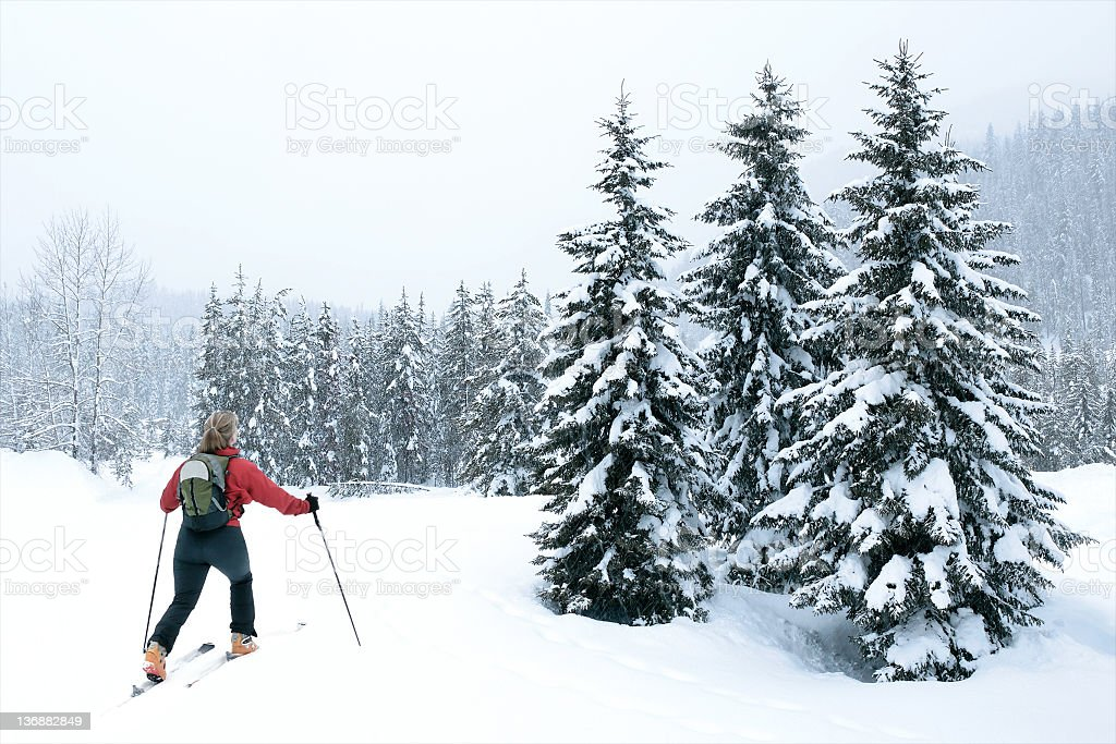woman back country skiing stock photo